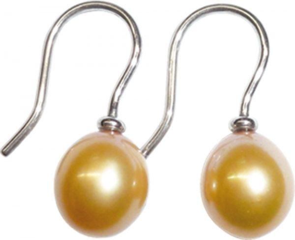 Ohrhänger in echten 925/- Silber Sterlingsilber, poliert,  mit 2 wunderschönen orangefarbenen glänzenden Süßwasserzuchtperlen, Durchmesser 8,4mm, Gewicht 2,5mm. In Premiumqualität aus dem Hause Abramowicz – die Nr. 1 für alle, die das Besondere lieben.
