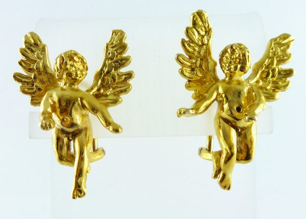 Ohrstecker Engel mit Flügel Silber Sterlingsilber 925/- vergoldet