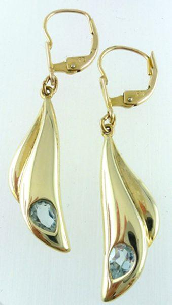 Ohrhänger 8kt Gelbgold 2 Blautopase