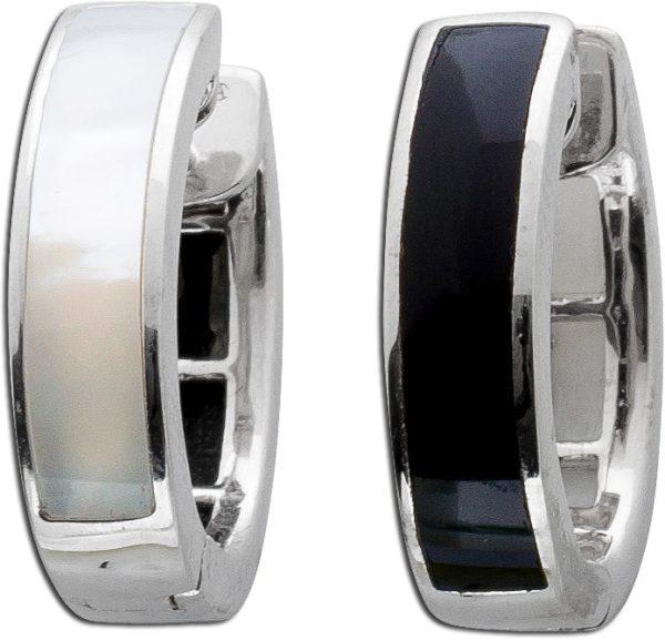 Schwarze Onyx Klappcreolen weiße Perlmutt Ohrringe Sterling Silber 925 Edelsteinschmuck