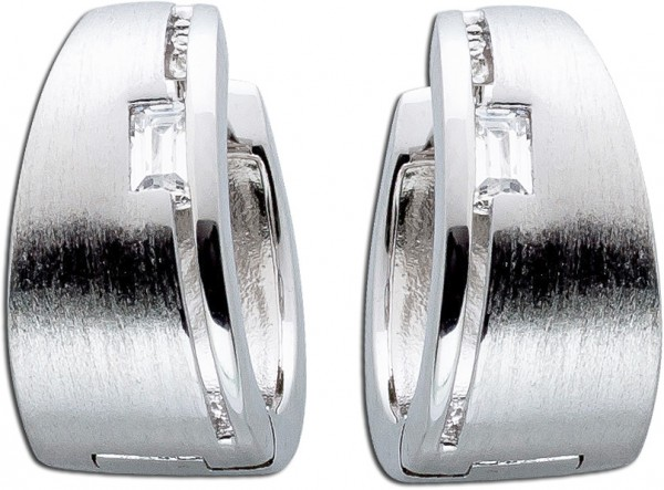 Asymetrische Scharniercreolen Silberohrringe Silbercreolen Ohrringe Creolen Silber 925 Klappcreole weisse Zirkonia