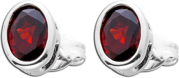 Granat Ohrringe Ohrstecker Silber 925 roter Edelstein