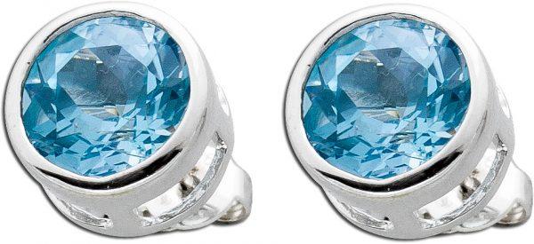 Blautopas Ohrstecker Silber 925 blauer E...