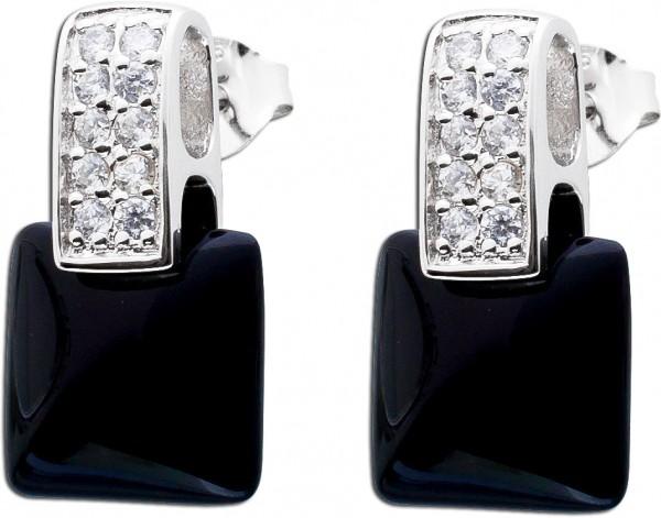 Schwarze Onyx Ohrringe Edelsteinohstecker Sterling Silber 925 Zirkonia