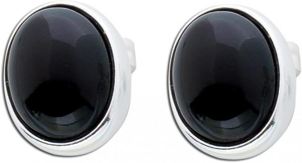 Onyx Ohrstecker schwarz Silber 925  Edelstein Ohrringe