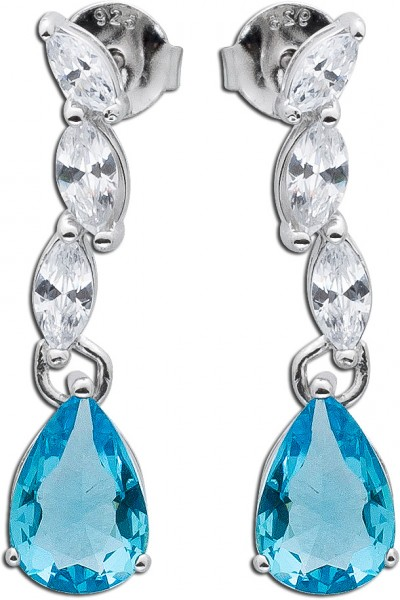 Blautopas Ohrringe Silber 925 Ohrhänger hellblau Ohrschmuck