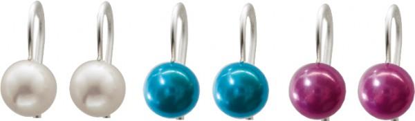 Ohrringe – Ohrhängerset bestehend aus 3 Paar. Echtes Silber Sterlingsilber 925/- mit echten, wunderschön glänzenden weißen, grünen und roséfarbenen Süßwasserzuchtperlen (Durchmesser ca. 8mm). Ein Preiskracher in Premiumqualität aus Stuttgart. Exklusiv bei