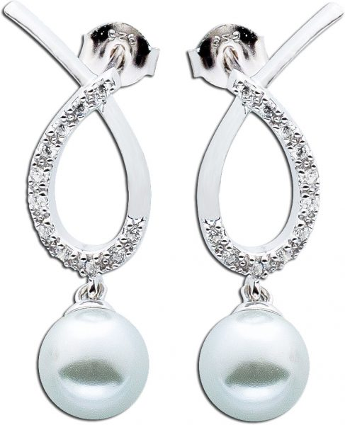 Damen Silber Ohrstecker Ohrringe Perlen Ohrhänger Silber 925 weisse Zirkonia weisse Suesswasserzuchtperlen