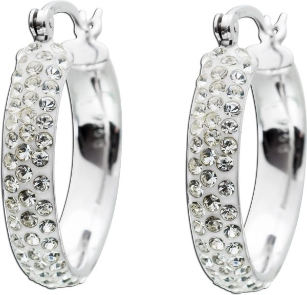 Creolen Silber 925 Ohrringe Ohrschmuck funkelnd weiss Kristalle
