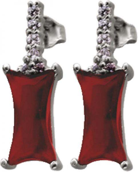 Ohrringe – Ohrschmuck aus echtem 925/- Silber Sterlingsilber, mit 14 weiße und rote Zirkonia, Maße B/H: ca. 7×20 mm, in feiner Juweliersqualität aus Stuttgart