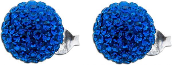 Ohrringe – Kristallohrstecker rundum saphirblau Silber 925