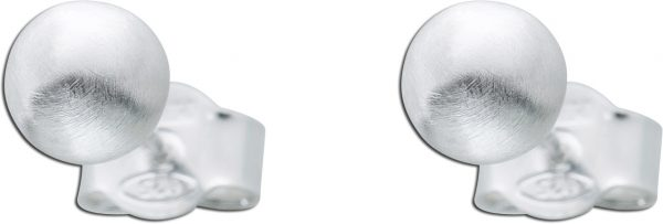 Mattierte Kugelohrstecker Silberkugelohrringe Silberohrringe halbmassiv Silber 925 5mm Ohrringe Silber