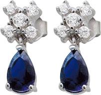 Ohrringe – Elegante Ohrstecker aus echtem Silber Sterlingsilber 925/-, mit je 5 funkelden weissen Zirkonia und einem tropfenförmigem, blauem Zirkon. Maße des Ohrschmucks ca. 16,0 mm X 7,0 mm, Stärke ca 3,0 mm. In feinster Juweliersqualität mit Tiefstprei