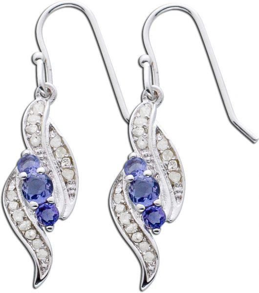 Silberohrringe – Ohrhänger Sterling Silber 925/- lila blauschimmernder Iolite