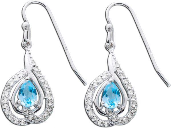 Edelsteinohrhänger – Ohrringe Sterling Silber 925 Blautopas