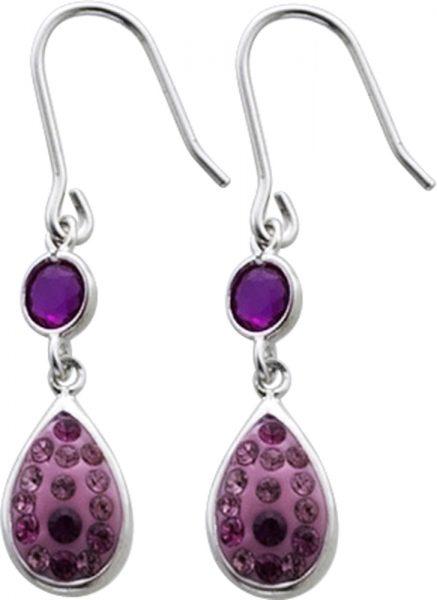 Ohrringe – Ohrhänger in Silber Sterlingsilber 925/- mit je 16 rosa- undpinkfarbenen Zirkoniabesetzt, Länge 23mm