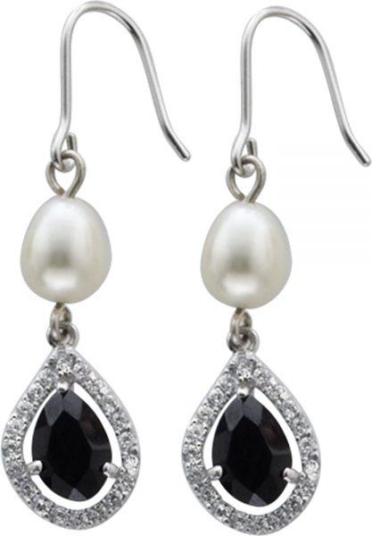 Ohrringe – Ohrhänger in Silber Sterlingsilber 925/-, mit ja 1 schwarzenund 24 weissen Zirkonia und1 Süsswasserzuchtperlebesetzt, Länge 30mm