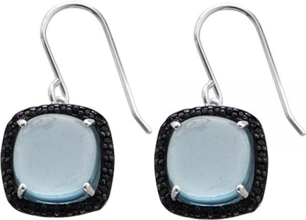 Ohrringe – Ohrhänger in Silber Sterlingsilber 925/-mit je 1 Blautopas11X11mm und 28 schwarzenSafiren, Ohrhänger Maße14,5X14,5mm