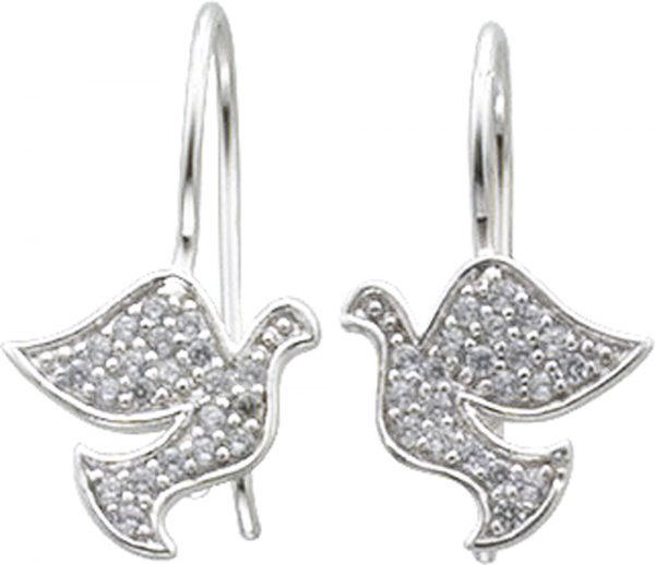 Ohrringe – Taubenohrhänger in Silber Sterlingsilber 925/-, mit je 21Zirkonia, Maße 12X13mmpoliert