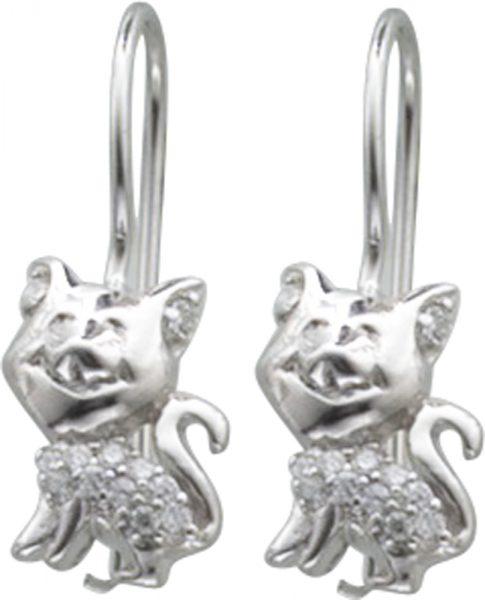Ohrringe – Katzenohrhänger in Silber Sterlingsilber 925/-, mit je 13Zirkonia besetzt,Maße 13X10mm, poliert