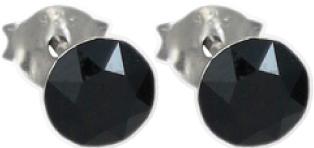 Ohrringe – Ohrstecker in Silber Sterlingsilber 925/- mit schwarzen swarovski elements 8mm