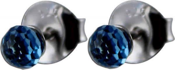 Ohrringe – Ohrstecker Silber Sterlingsilber rhodiniert 2 Swarovski Elements blau