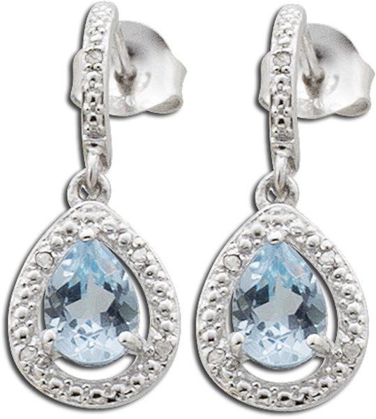 Blautopasohrstecker – Ohrringe Sterling Silber 925 rhodiert