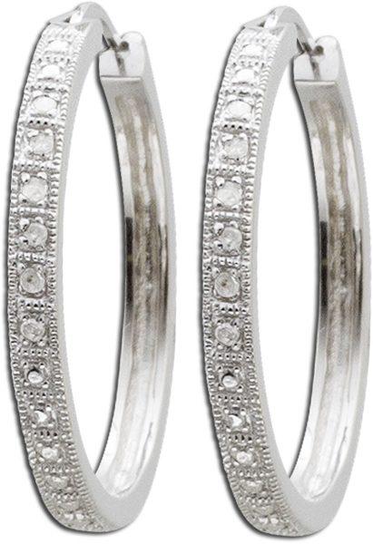 Ohrringe – Creolen aus rhodiniertem Silber Sterlingsilber poliert mit 12 Diamanten