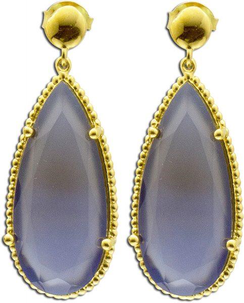 Ohrringe – Ohrstecker aus Silber Sterlingsilber gelbvergoldet mit Chalcedon