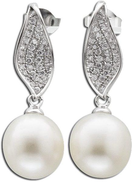 Ohrringe – Ohrstecker in Silber Sterlingsilber 925/- mit 2 Süsswasserzuchtperlen und zirkonia