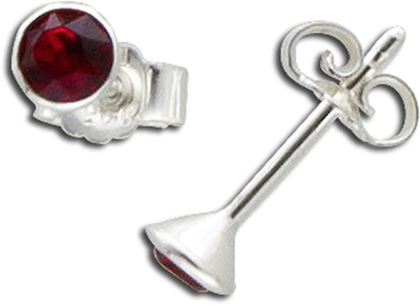 Ohrringe – Ohrstecker in Silber Sterlingsilber 925/- mit roten Zirkonia