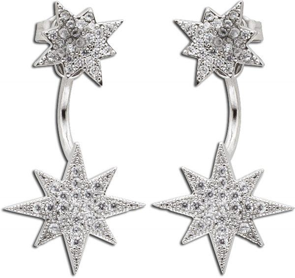 ohrringe Ohrstecker Sterling Silber 925m Sterne mit  Zirkonia