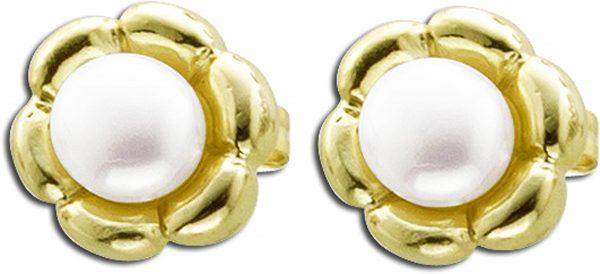 Ohrringe Ohrstecker Sterling Silber 925gelb vergoldet, mit Süsswasserzuchtperlen
