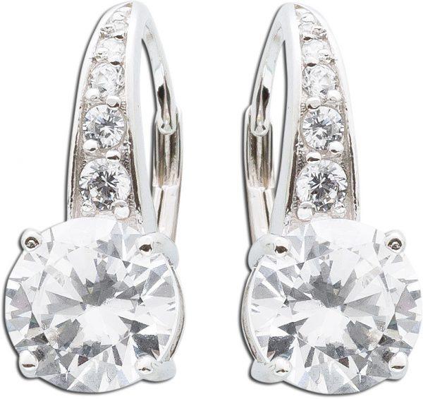 Runde weiße Zirkonia Ohrhänger Sterling Silber 925