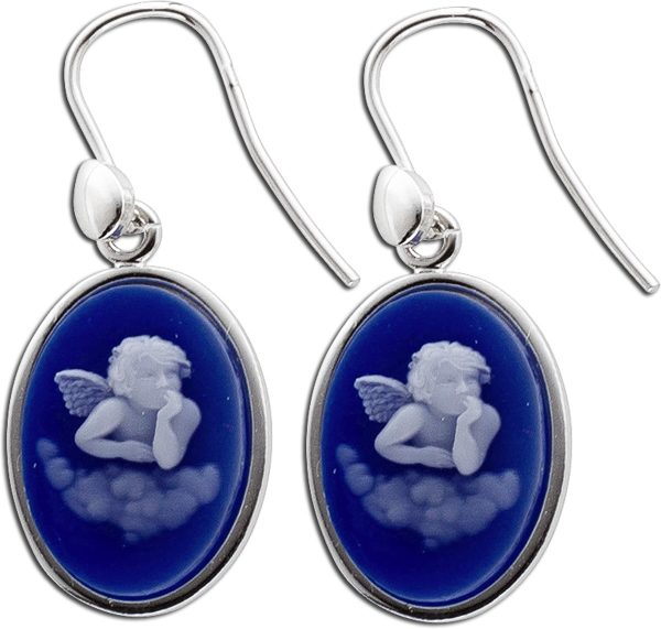 Ohrringe – Ohrhänger Sterling Silber 925 Gemme Kammee  Blau