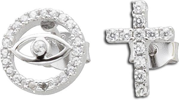 Ohrringe – Ohrstecker Sterling Silber 925 mit Kreuz und Schützendem Auge mit Zirkonia