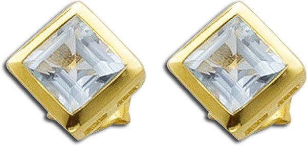 Edelsteinohrringe – Ohrstecker Sterling Silber 925 gelb vergoldet Blautopas