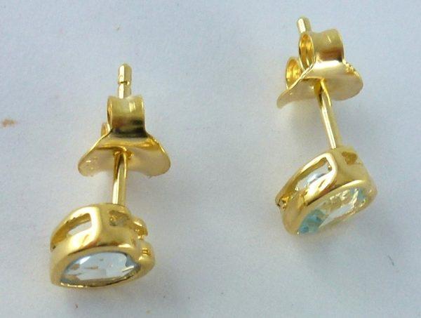 Ohrringe – Ohrstecker Sterling Silber 925 gelbvergoldet Blautopas