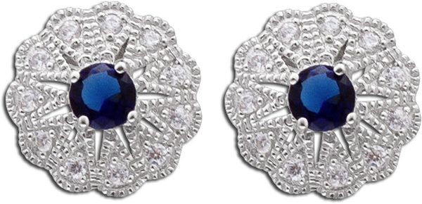 Ohrringe – Ohrstecker Sterling Silber 925 blauem Zirkonia