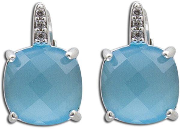 blaue Brisur ohrringeSterling Silber 92513x10mm mit 6 Zirkonia