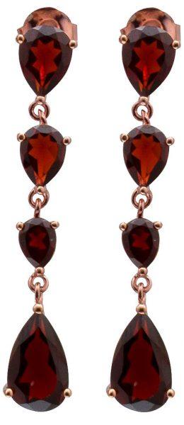 Rote Edelsteinohrringe Ohrstecker Silber 925/- Granat  rose vergoldet