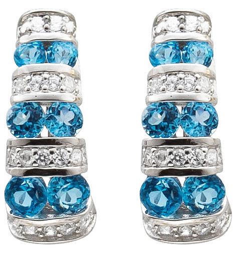 Ohrringe – Creolen Sterling Silber 925 Blautopas Zirkonia