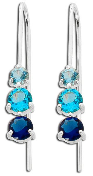 Silberohrringe Ohrhänger blaue Zirkonia...