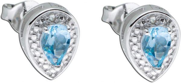 Blaue Tropfen-Ohrstecker Sterling Silber...