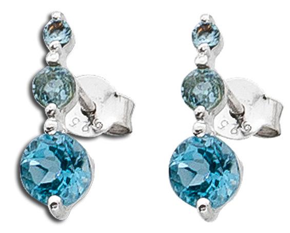Ohrringe Ohrstecker Sterling Silber 925 Blautopas