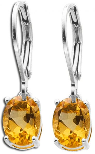 Ohrringe Citrin Ohrhänger gelb orange Silber 925 Citrin