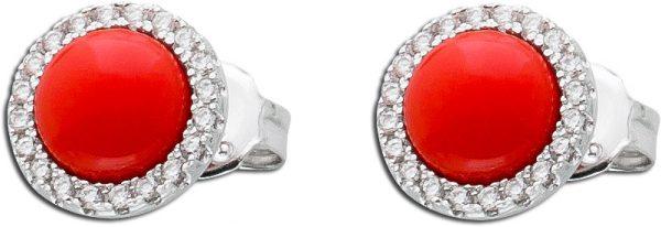 Koralle Ohrstecker Ohrringe Silber 925 rot Zirkonia