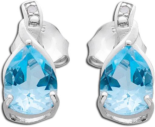 Ohrringe Ohrstecker Sterling Silber 925 rhodiniert Blautopas Diamant