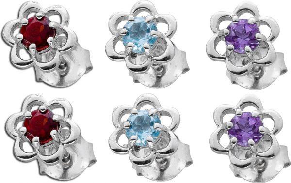 Multicolor Blumen Ohrschmuck Set Silber ...