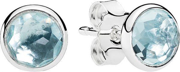 Ohrringe – PANDORA Ohrstecker 290738NAB Geburtsstein März Tröpfchen aquamarinblauer Kristall Silber 925